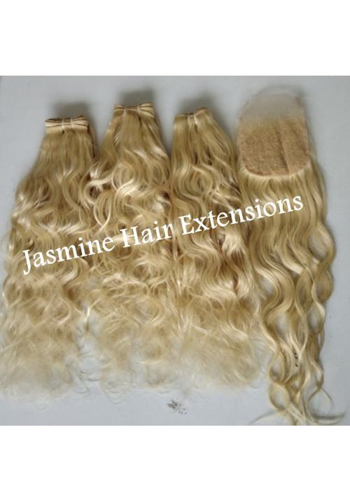 100% Unprocessed wavy  613 Blonde Hair Bundles