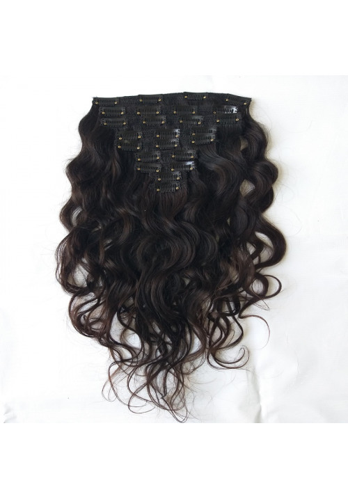 Unprocessed 100% Natural wavy clip in hair extension